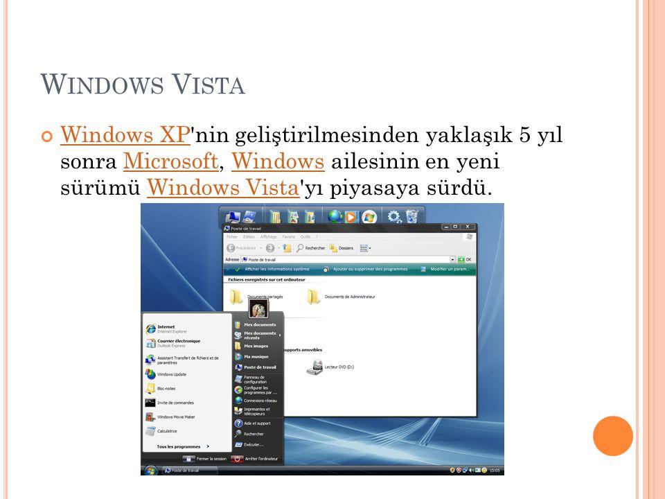 W INDOWS V ISTA Windows XPWindows XP'nin geliştirilmesinden yaklaşık 5 yıl sonra Microsoft, Windows ailesinin en yeni sürümü Windows Vista'yı piyasaya