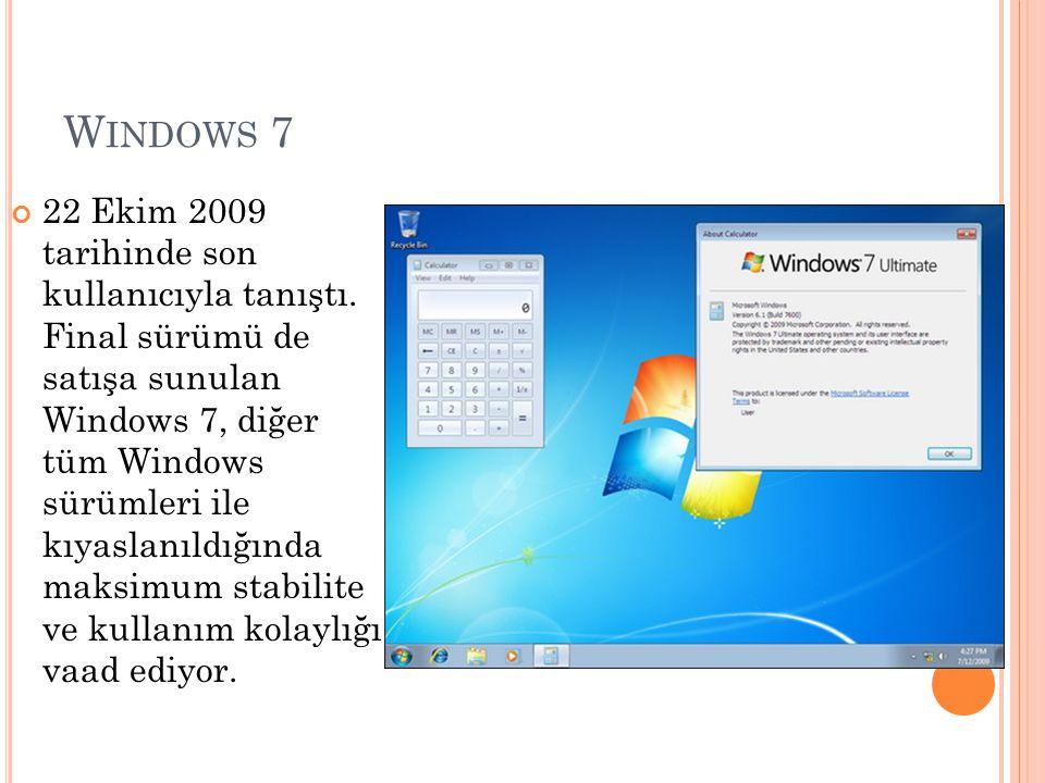 W INDOWS 7 22 Ekim 2009 tarihinde son kullanıcıyla tanıştı. Final sürümü de satışa sunulan Windows 7, diğer tüm Windows sürümleri ile kıyaslanıldığınd