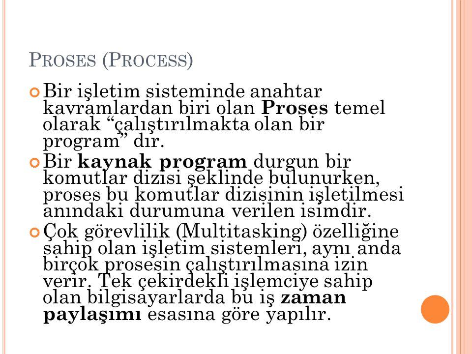 """P ROSES (P ROCESS ) Bir işletim sisteminde anahtar kavramlardan biri olan Proses temel olarak """"çalıştırılmakta olan bir program"""" dır. Bir kaynak progr"""