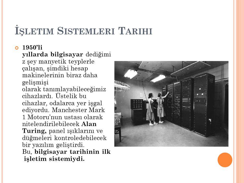İ ŞLETIM S ISTEMLERI T ARIHI 1956 yılında yeni yeni gelişen IBM, General Motors 'un desteğiyle IBM 704 adı verilen cihazı geliştirmeye başladı.