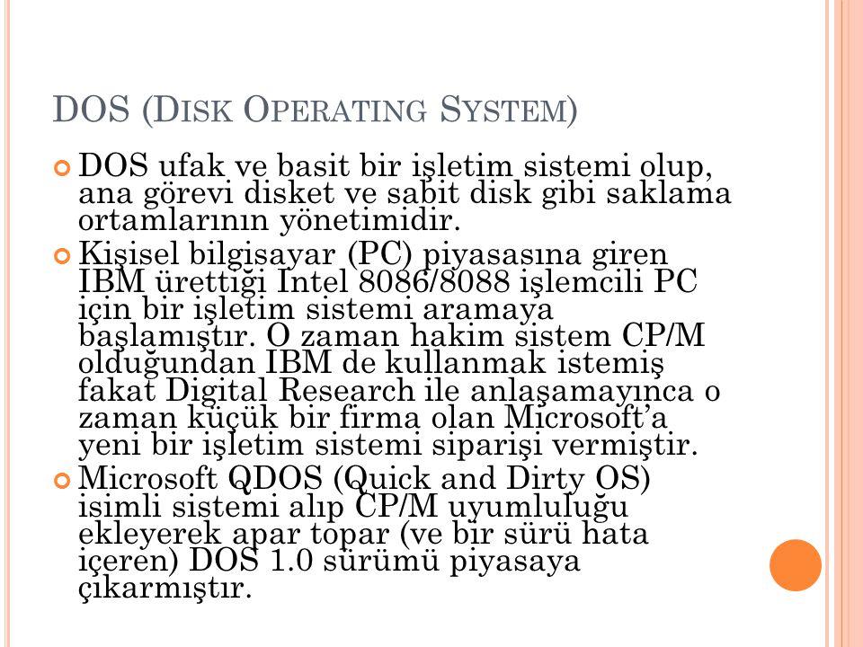 DOS (D ISK O PERATING S YSTEM ) DOS ufak ve basit bir işletim sistemi olup, ana görevi disket ve sabit disk gibi saklama ortamlarının yönetimidir. Kiş
