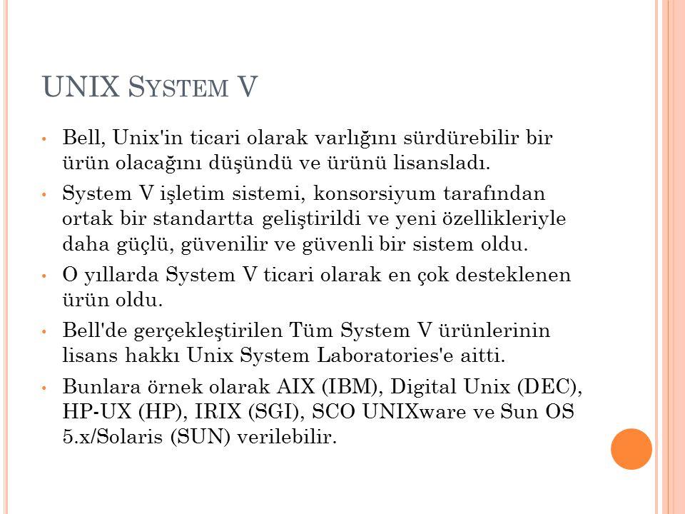 UNIX S YSTEM V Bell, Unix'in ticari olarak varlığını sürdürebilir bir ürün olacağını düşündü ve ürünü lisansladı. System V işletim sistemi, konsorsiyu
