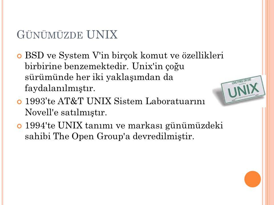 G ÜNÜMÜZDE UNIX BSD ve System V'in birçok komut ve özellikleri birbirine benzemektedir. Unix'in çoğu sürümünde her iki yaklaşımdan da faydalanılmıştır