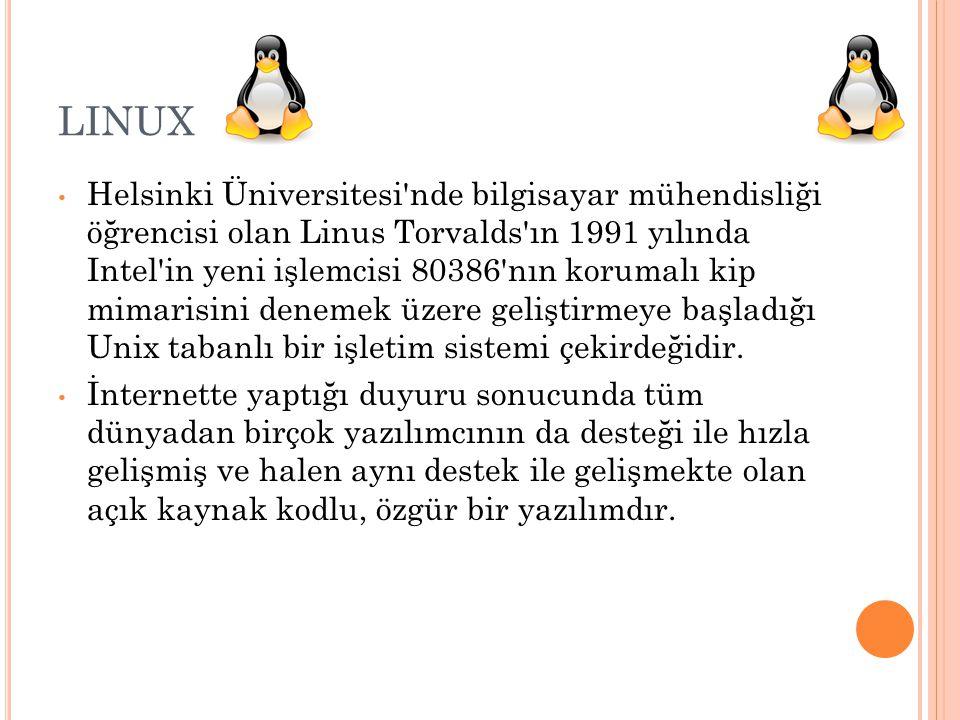 LINUX Helsinki Üniversitesi'nde bilgisayar mühendisliği öğrencisi olan Linus Torvalds'ın 1991 yılında Intel'in yeni işlemcisi 80386'nın korumalı kip m