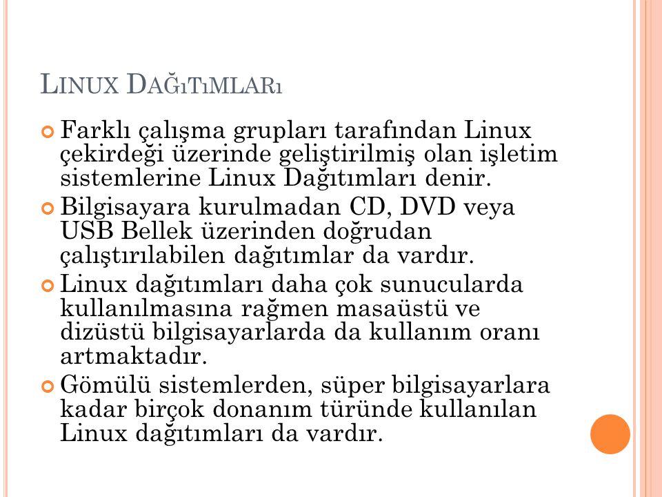 L INUX D AĞıTıMLARı Farklı çalışma grupları tarafından Linux çekirdeği üzerinde geliştirilmiş olan işletim sistemlerine Linux Dağıtımları denir. Bilgi