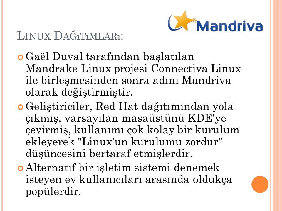 L INUX D AĞıTıMLARı : Gaël Duval tarafından başlatılan Mandrake Linux projesi Connectiva Linux ile birleşmesinden sonra adını Mandriva olarak değiştir
