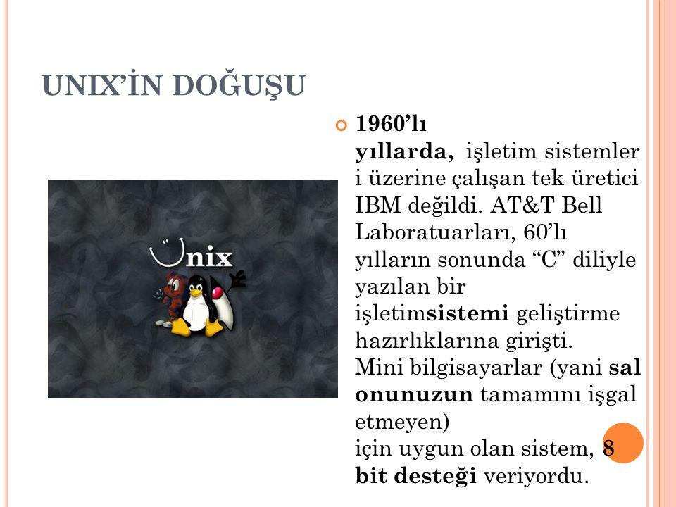 """UNIX'İN DOĞUŞU 1960'lı yıllarda, işletim sistemler i üzerine çalışan tek üretici IBM değildi. AT&T Bell Laboratuarları, 60'lı yılların sonunda """"C"""" dil"""
