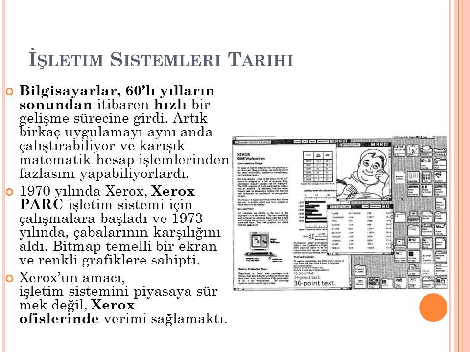 İ ŞLETIM S ISTEMLERI T ARIHI Bilgisayarlar, 60'lı yılların sonundan itibaren hızlı bir gelişme sürecine girdi. Artık birkaç uygulamayı aynı anda çalış