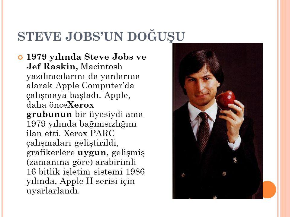 STEVE JOBS'UN DOĞUŞU 1979 yılında Steve Jobs ve Jef Raskin, Macintosh yazılımcılarını da yanlarına alarak Apple Computer'da çalışmaya başladı. Apple,