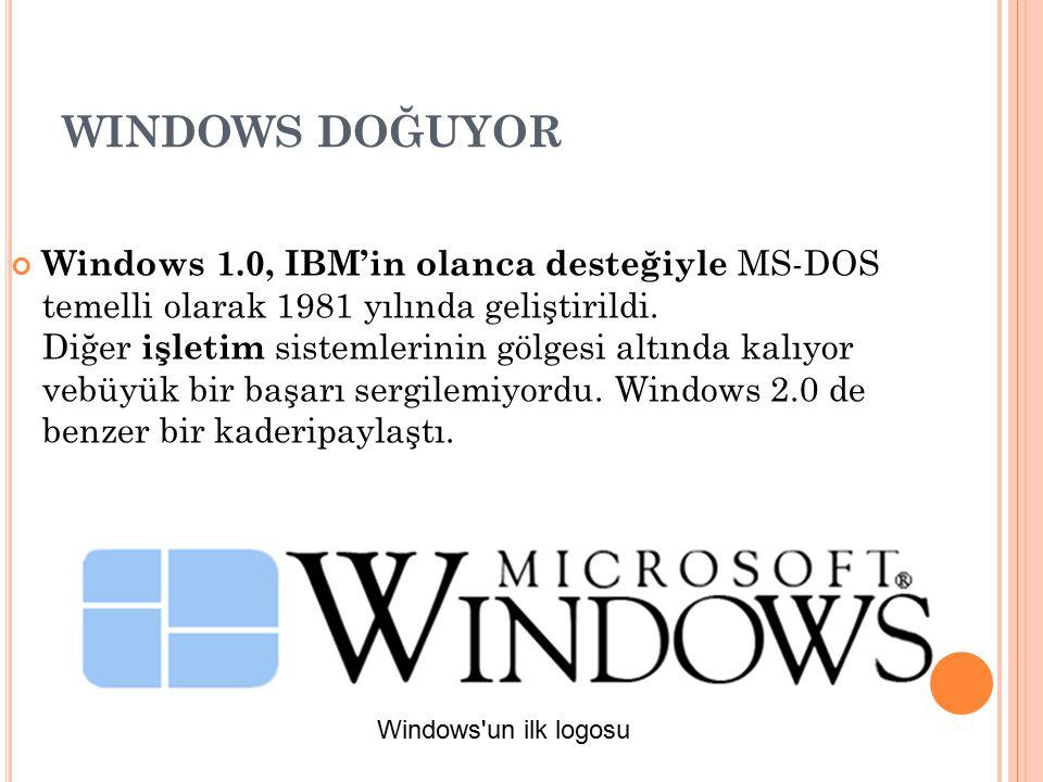 WINDOWS DOĞUYOR Windows 1.0, IBM'in olanca desteğiyle MS-DOS temelli olarak 1981 yılında geliştirildi. Diğer işletim sistemlerinin gölgesi altında kal