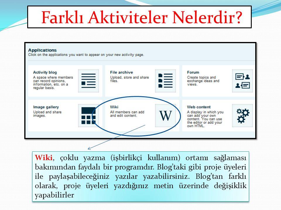 Farklı Aktiviteler Nelerdir? Wiki, çoklu yazma (işbirlikçi kullanım) ortamı sağlaması bakımından faydalı bir programdır. Blog'taki gibi proje üyeleri
