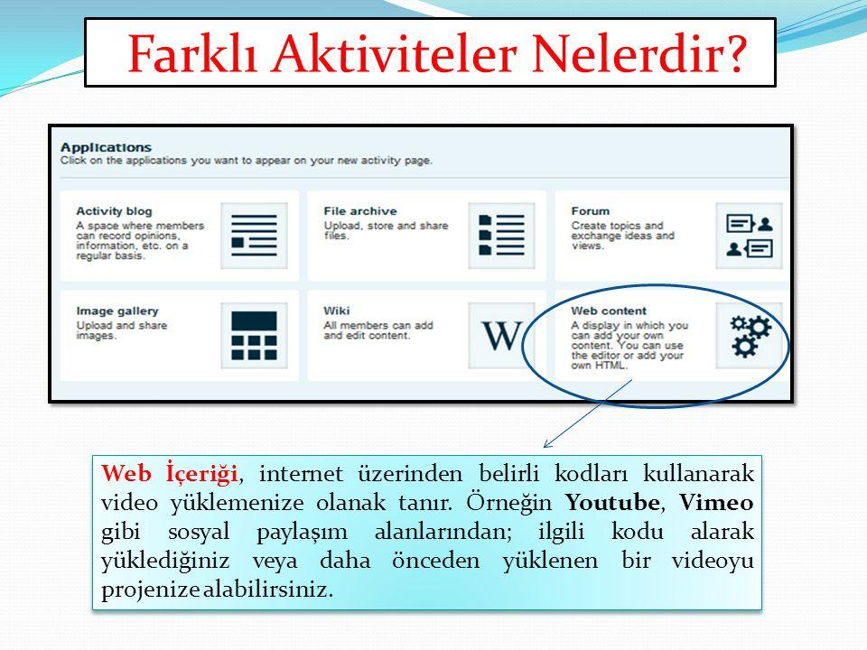 Farklı Aktiviteler Nelerdir? Web İçeriği, internet üzerinden belirli kodları kullanarak video yüklemenize olanak tanır. Örneğin Youtube, Vimeo gibi so