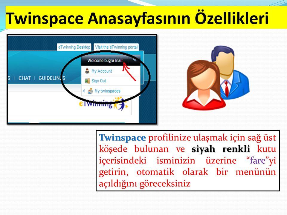 Twinspace Anasayfasının Özellikleri Twinspace siyah renkli Twinspace profilinize ulaşmak için sağ üst köşede bulunan ve siyah renkli kutu içerisindeki