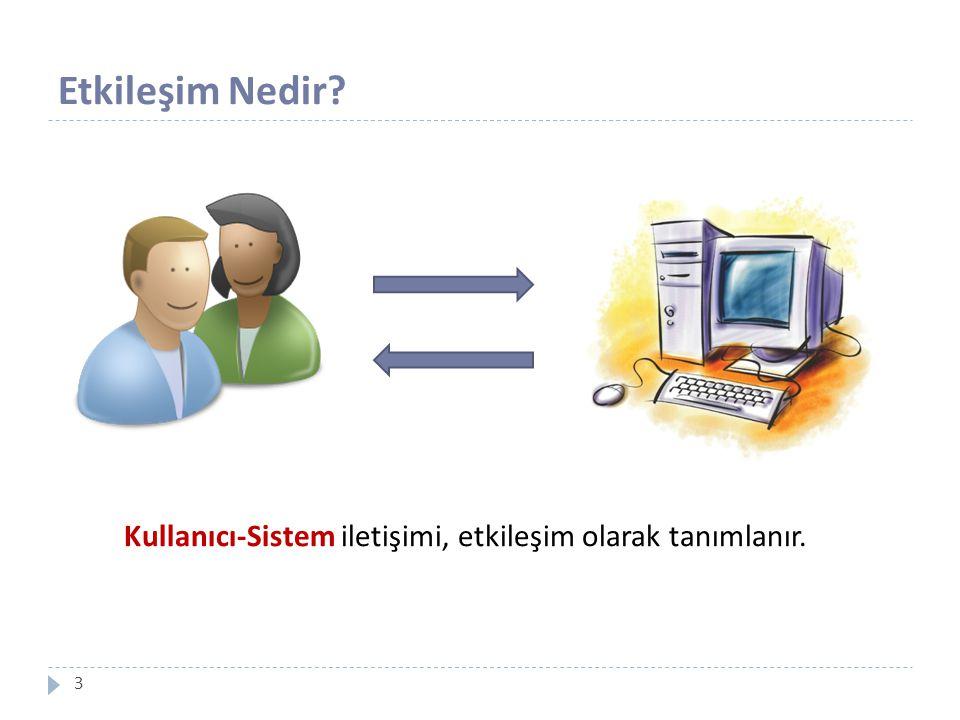 Etkileşim Nedir? 3 Kullanıcı-Sistem iletişimi, etkileşim olarak tanımlanır.