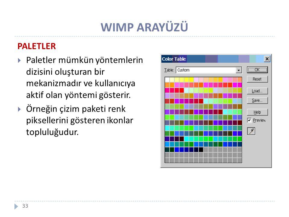 WIMP ARAYÜZÜ 33 PALETLER  Paletler mümkün yöntemlerin dizisini oluşturan bir mekanizmadır ve kullanıcıya aktif olan yöntemi gösterir.  Örneğin çizim