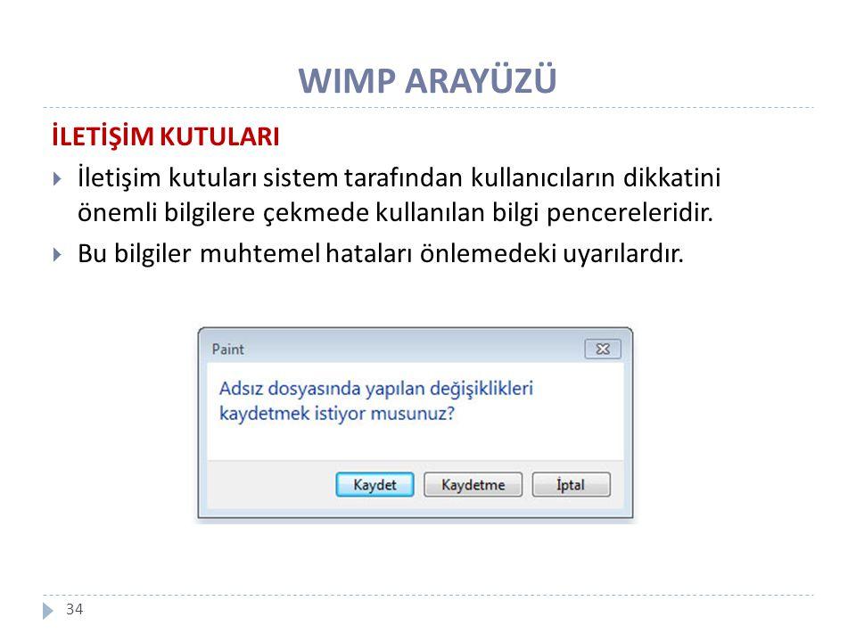 WIMP ARAYÜZÜ 34 İLETİŞİM KUTULARI  İletişim kutuları sistem tarafından kullanıcıların dikkatini önemli bilgilere çekmede kullanılan bilgi pencereleri