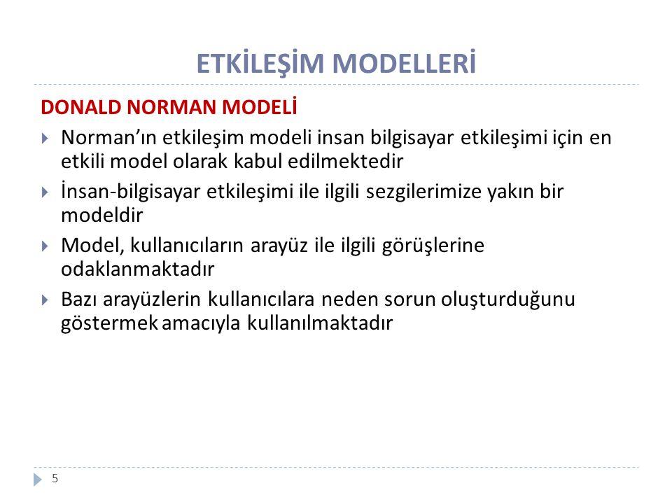 ETKİLEŞİM MODELLERİ 5 DONALD NORMAN MODELİ  Norman'ın etkileşim modeli insan bilgisayar etkileşimi için en etkili model olarak kabul edilmektedir  İ