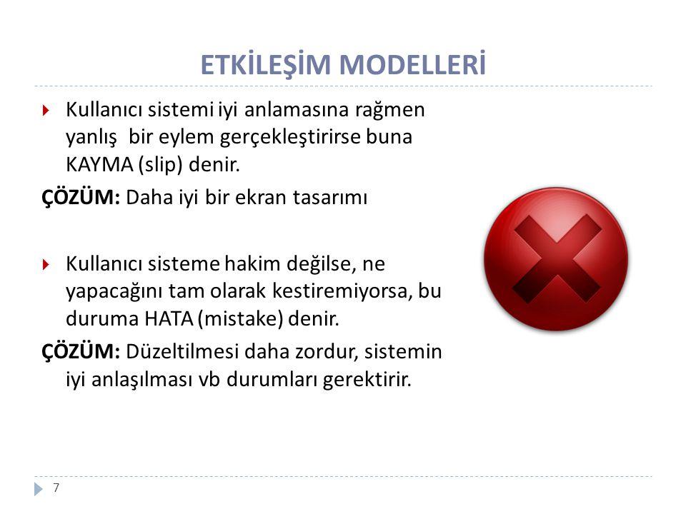 ETKİLEŞİM MODELLERİ 8 ETKİLEŞİM ÇERÇEVESİ S Sistem Dili U Kullanıcı Dili Ç Çıkış G Giriş Sunum (Presentation) Gözlem (Observation) Söyleme,Bildirme (Articulation) Performans (Performance)  Dört temel unsur vardır: Sistem Kullanıcı Giriş Çıkış  Bileşenler arasında 4 temel aktarım türü vardır: Sunum Performans Bildirim Gözlem