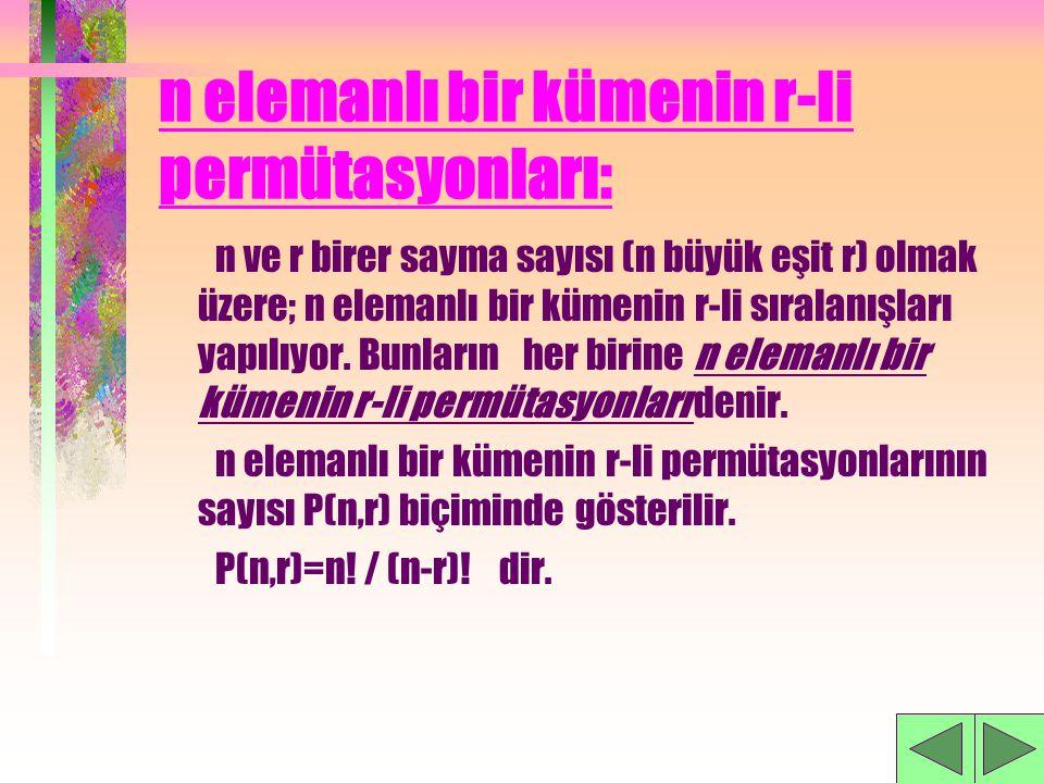 SORU: 'AHMET' sözcüğünün harfleriyle 5 harfli anlamlı yada anlamsız kaç kelime yazılabilir? CEVAP:120