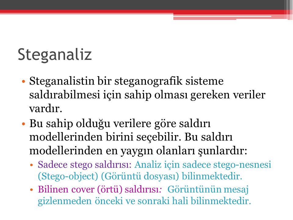 Steganaliz Steganalistin bir steganografik sisteme saldırabilmesi için sahip olması gereken veriler vardır. Bu sahip olduğu verilere göre saldırı mode
