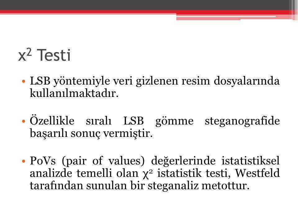 χ 2 Testi LSB yöntemiyle veri gizlenen resim dosyalarında kullanılmaktadır. Özellikle sıralı LSB gömme steganografide başarılı sonuç vermiştir. PoVs (