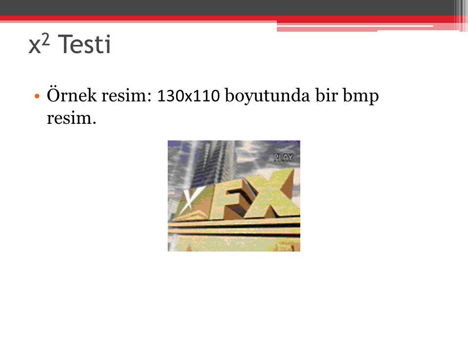 χ 2 Testi Örnek resim: 130x110 boyutunda bir bmp resim.