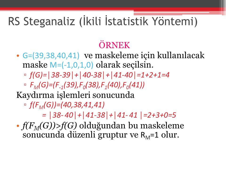 RS Steganaliz (İkili İstatistik Yöntemi) ÖRNEK G=(39,38,40,41) ve maskeleme için kullanılacak maske M=(-1,0,1,0) olarak seçilsin. ▫ f(G)=│38-39│+│40-3