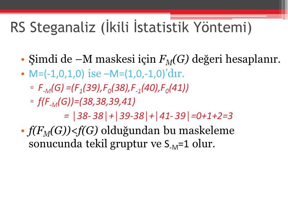 RS Steganaliz (İkili İstatistik Yöntemi) Şimdi de –M maskesi için F M (G) değeri hesaplanır. M=(-1,0,1,0) ise –M=(1,0,-1,0) 'dır. ▫ F -M (G) =(F 1 (39