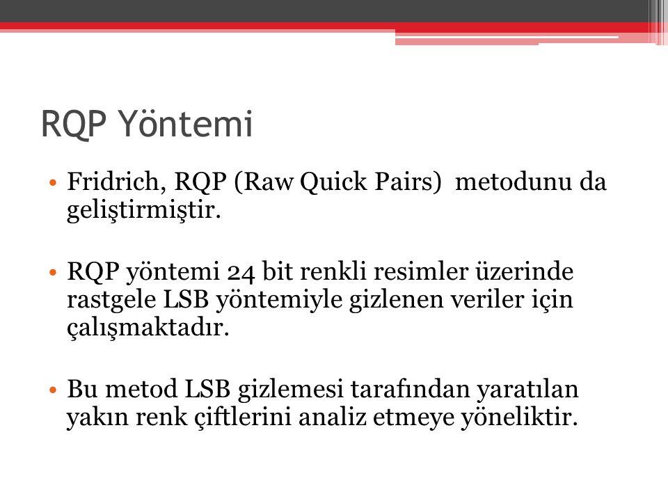 RQP Yöntemi Fridrich, RQP (Raw Quick Pairs) metodunu da geliştirmiştir. RQP yöntemi 24 bit renkli resimler üzerinde rastgele LSB yöntemiyle gizlenen v