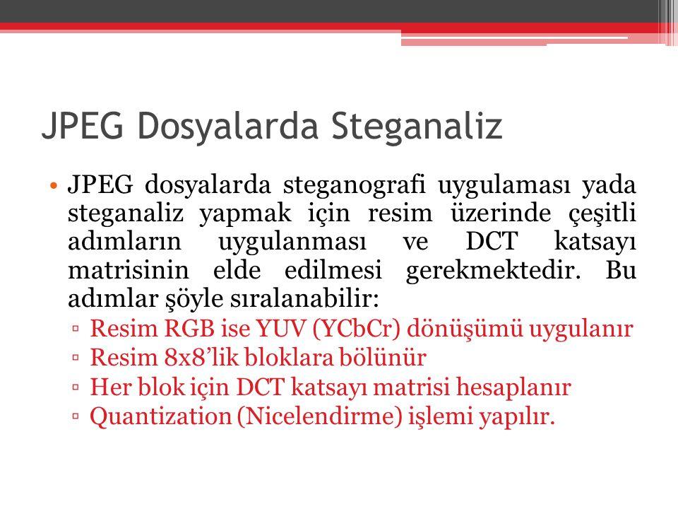 JPEG Dosyalarda Steganaliz JPEG dosyalarda steganografi uygulaması yada steganaliz yapmak için resim üzerinde çeşitli adımların uygulanması ve DCT kat
