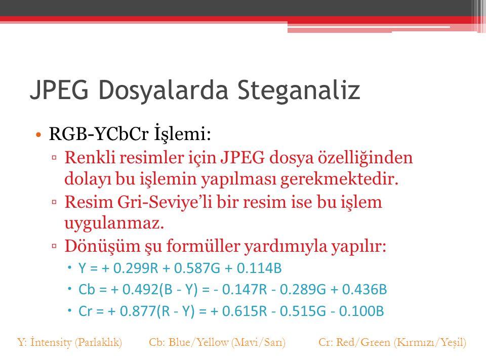 JPEG Dosyalarda Steganaliz RGB-YCbCr İşlemi: ▫Renkli resimler için JPEG dosya özelliğinden dolayı bu işlemin yapılması gerekmektedir. ▫Resim Gri-Seviy