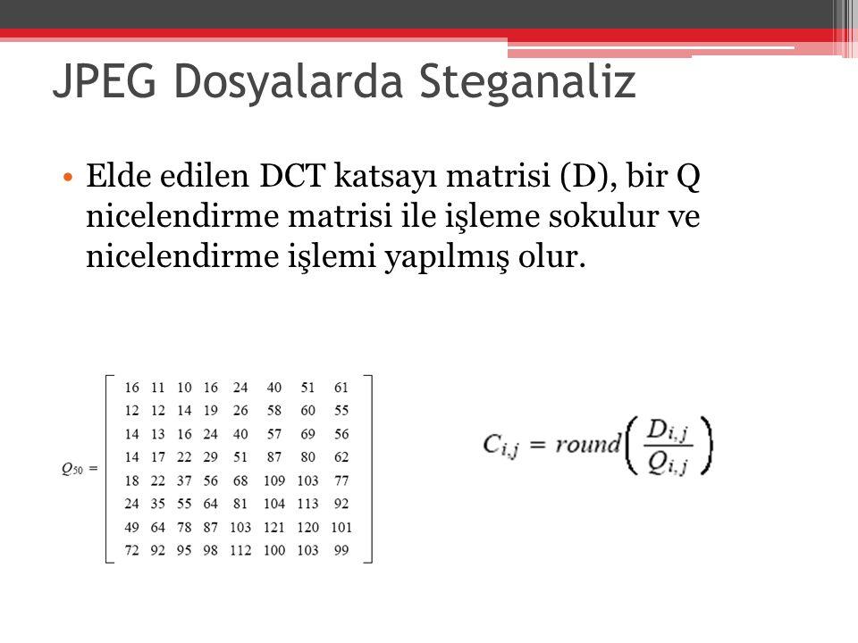 JPEG Dosyalarda Steganaliz Elde edilen DCT katsayı matrisi (D), bir Q nicelendirme matrisi ile işleme sokulur ve nicelendirme işlemi yapılmış olur.