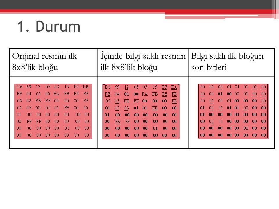 1. Durum Orijinal resmin ilk 8x8'lik bloğu İçinde bilgi saklı resmin ilk 8x8'lik bloğu Bilgi saklı ilk bloğun son bitleri