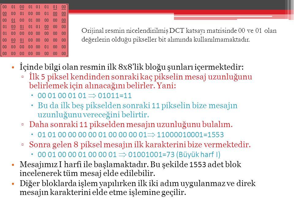 İçinde bilgi olan resmin ilk 8x8'lik bloğu şunları içermektedir: ▫İlk 5 piksel kendinden sonraki kaç pikselin mesaj uzunluğunu belirlemek için alınaca
