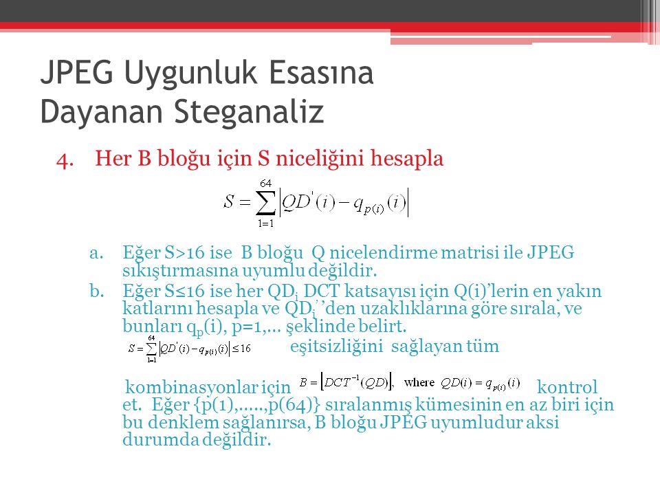 JPEG Uygunluk Esasına Dayanan Steganaliz 4.Her B bloğu için S niceliğini hesapla a.Eğer S>16 ise B bloğu Q nicelendirme matrisi ile JPEG sıkıştırmasın