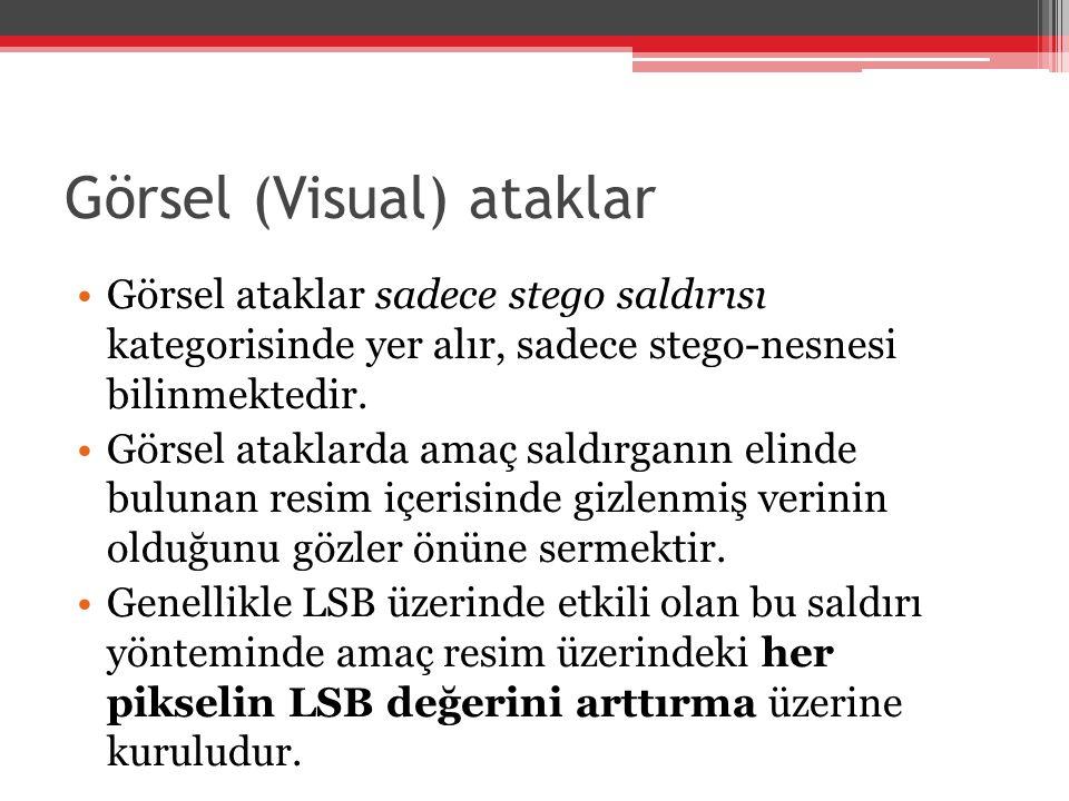 Görsel (Visual) ataklar Görsel ataklar sadece stego saldırısı kategorisinde yer alır, sadece stego-nesnesi bilinmektedir. Görsel ataklarda amaç saldır