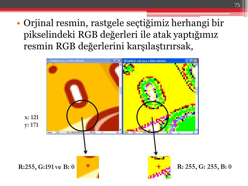 Orjinal resmin, rastgele seçtiğimiz herhangi bir pikselindeki RGB değerleri ile atak yaptığımız resmin RGB değerlerini karşılaştırırsak, R:255, G:191