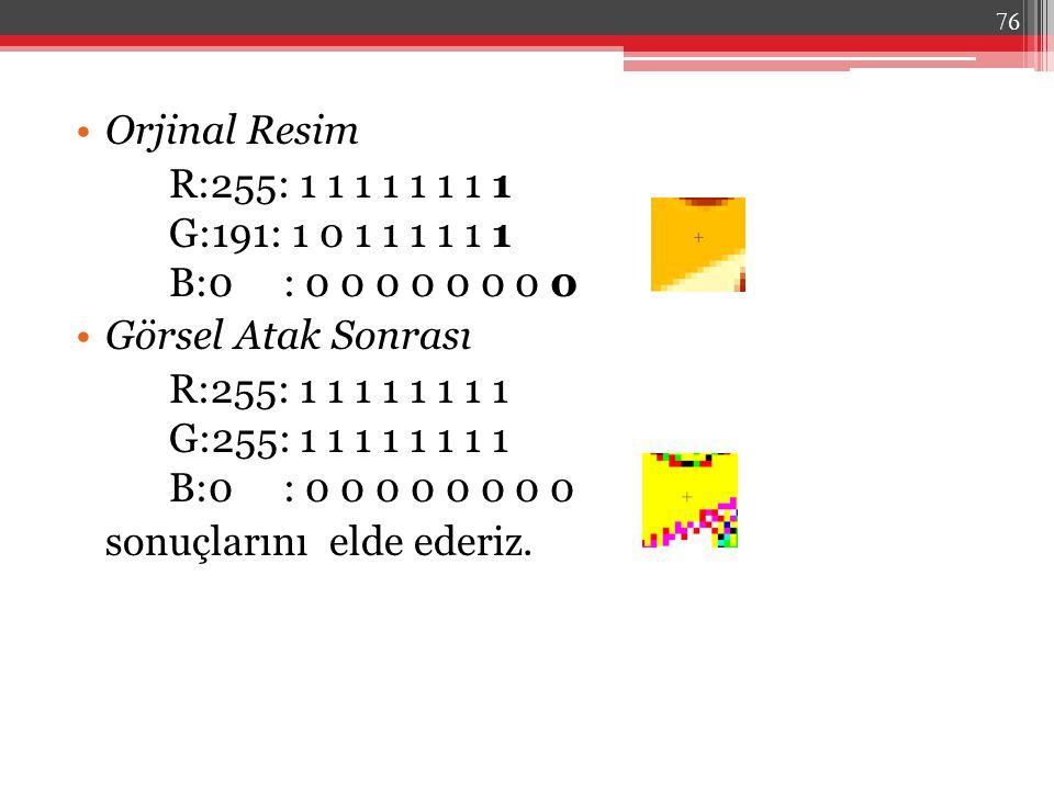 Orjinal Resim R:255: 1 1 1 1 1 1 1 1 G:191: 1 0 1 1 1 1 1 1 B:0 : 0 0 0 0 0 0 0 0 Görsel Atak Sonrası R:255: 1 1 1 1 1 1 1 1 G:255: 1 1 1 1 1 1 1 1 B: