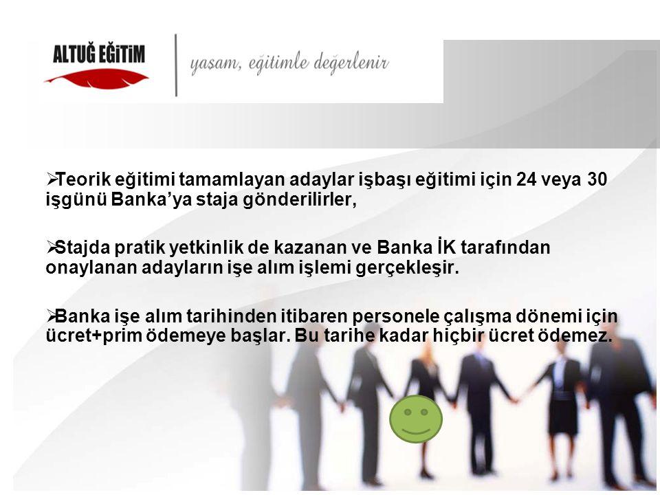  Teorik eğitimi tamamlayan adaylar işbaşı eğitimi için 24 veya 30 işgünü Banka'ya staja gönderilirler,  Stajda pratik yetkinlik de kazanan ve Banka