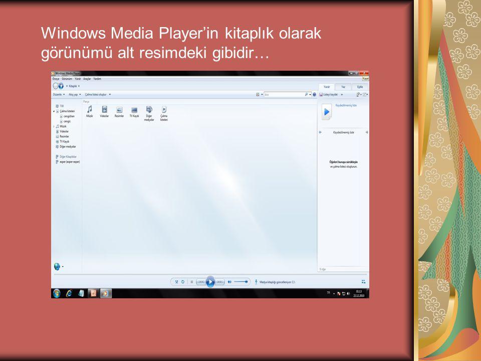 Windows Media Player'in kitaplık olarak görünümü alt resimdeki gibidir…