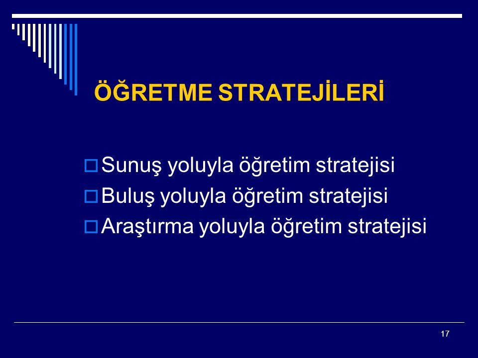 17 ÖĞRETME STRATEJİLERİ  Sunuş yoluyla öğretim stratejisi  Buluş yoluyla öğretim stratejisi  Araştırma yoluyla öğretim stratejisi