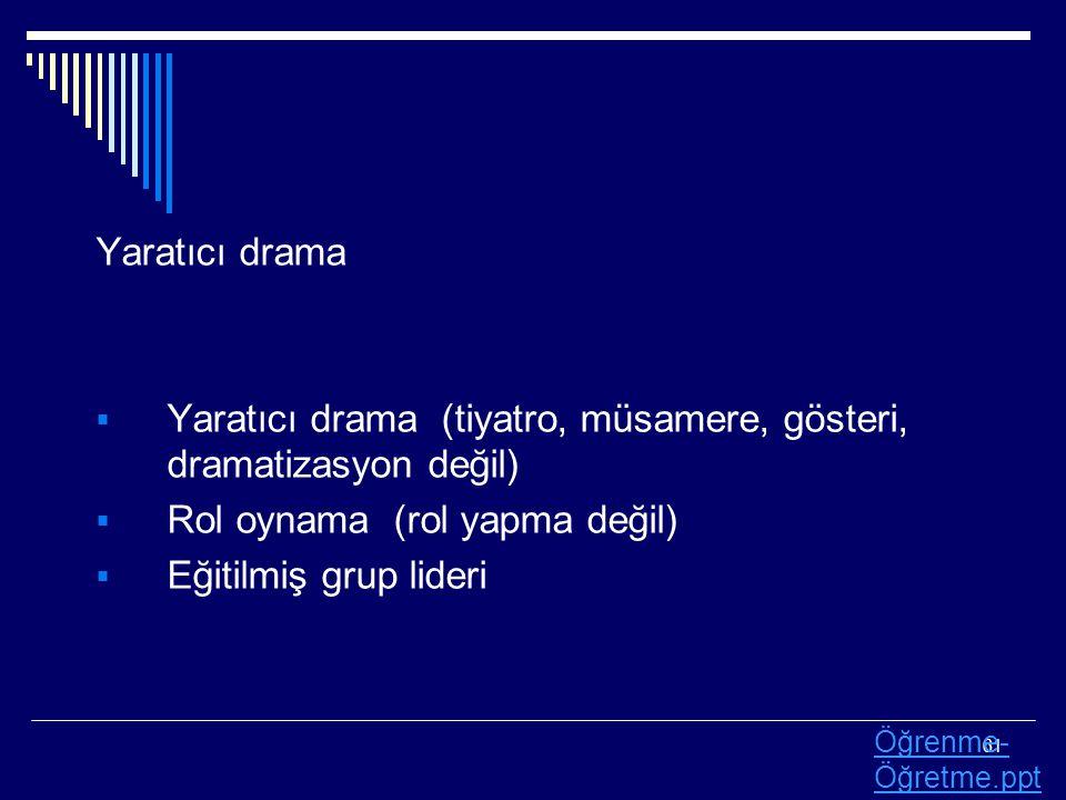 61 Yaratıcı drama  Yaratıcı drama (tiyatro, müsamere, gösteri, dramatizasyon değil)  Rol oynama (rol yapma değil)  Eğitilmiş grup lideri Öğrenme- Ö