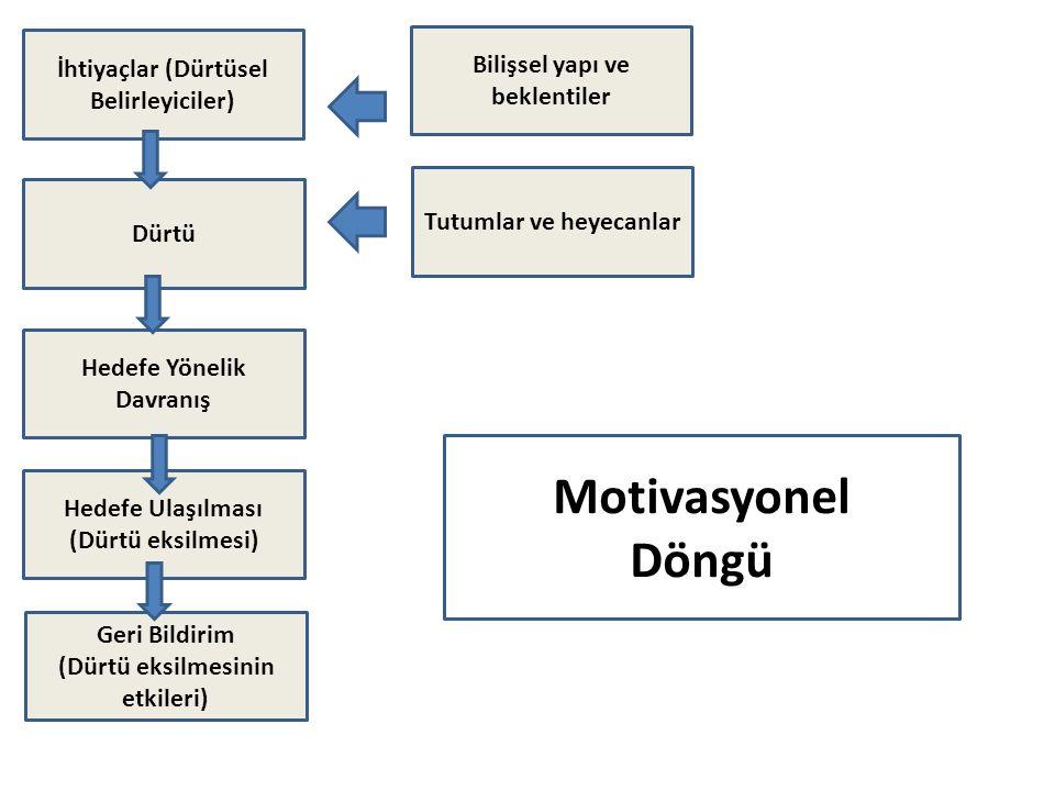 Motivasyonel Döngü İhtiyaçlar (Dürtüsel Belirleyiciler) Dürtü Hedefe Yönelik Davranış Hedefe Ulaşılması (Dürtü eksilmesi) Geri Bildirim (Dürtü eksilme
