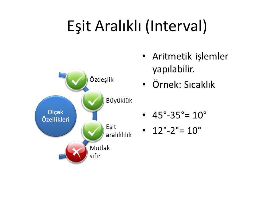 Eşit Aralıklı (Interval) Ölçek Özellikleri Özdeşlik Büyüklük Eşit aralıklılık Mutlak sıfır Aritmetik işlemler yapılabilir. Örnek: Sıcaklık 45°-35°= 10