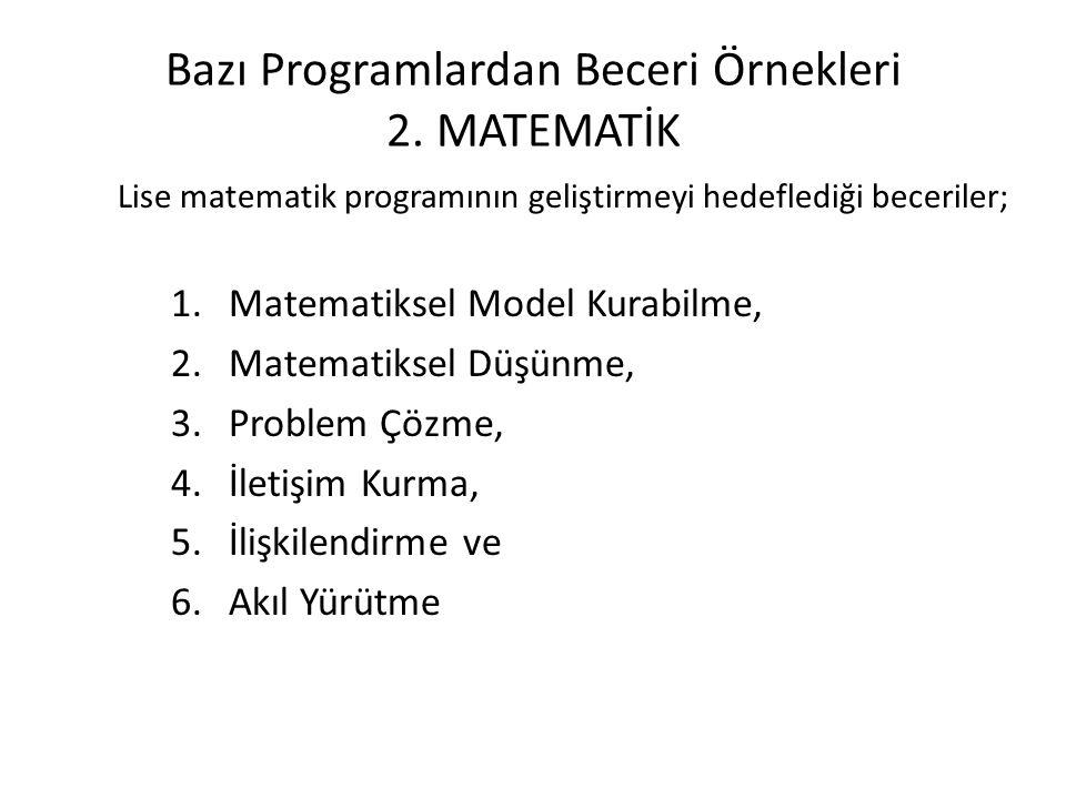 Bazı Programlardan Beceri Örnekleri 2. MATEMATİK Lise matematik programının geliştirmeyi hedeflediği beceriler; 1.Matematiksel Model Kurabilme, 2.Mate