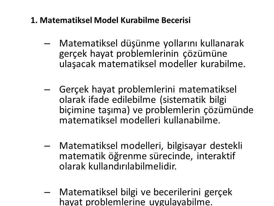 1. Matematiksel Model Kurabilme Becerisi – Matematiksel düşünme yollarını kullanarak gerçek hayat problemlerinin çözümüne ulaşacak matematiksel modell