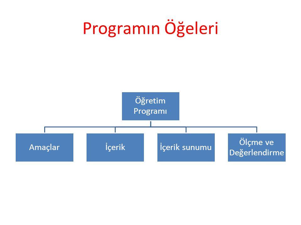 Programın Öğeleri Öğretim Programı Amaçlarİçerikİçerik sunumu Ölçme ve Değerlendirme