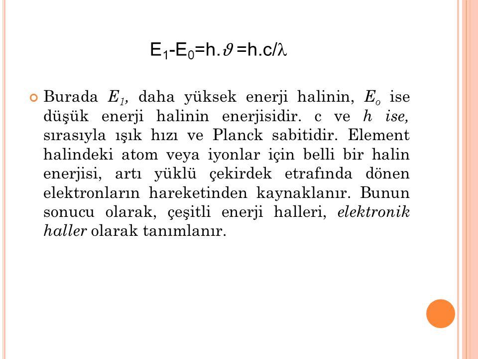Burada E 1, daha yüksek enerji halinin, E o ise düşük enerji halinin enerjisidir.