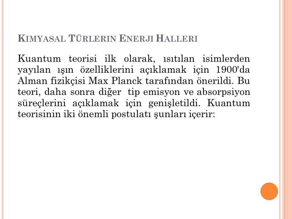 K IMYASAL T ÜRLERIN E NERJI H ALLERI Kuantum teorisi ilk olarak, ısıtılan isimlerden yayılan ışın özelliklerini açıklamak için 1900 da Alman fizikçisi Max Planck tarafından önerildi.