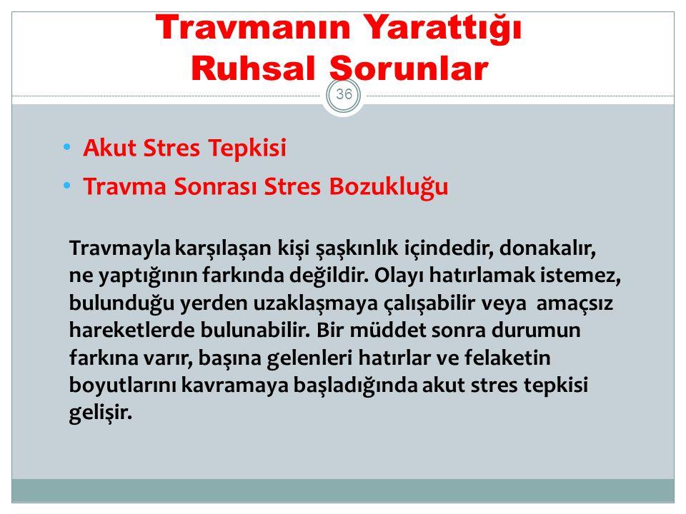 Travmanın Yarattığı Ruhsal Sorunlar Akut Stres Tepkisi Travma sonrası ilk dört haftada ortaya çıkar ve 2 gün ile 4 hafta sürer.